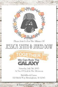 Star Wars Wedding Invitation Printable by SweetTeaAndACactus on Etsy   10 Star Wars Wedding Ideas for Super Fans