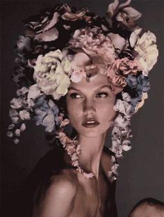 Fashion Floral Crown  Gif ◆ Neovictorian Modern Baroque Fashion ◆ Vogue italia karlie kloss steven meisel