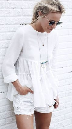 Casual look   Loose white blouse with white shorts