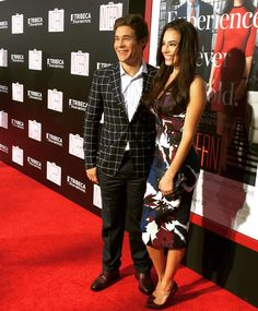 The very funny Adam Devine with #PrettyLittleLiars star Chloe Bridges at the premiere of #TheIntern!