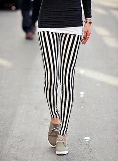Vertical Black and White Stripe Leggings/Yoga Leggings by Addmein, $16.00