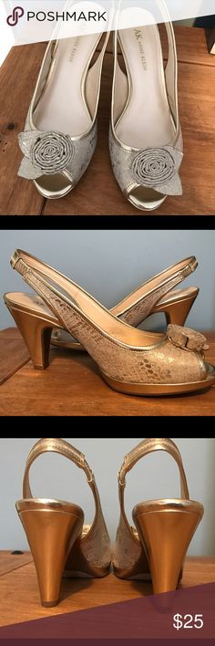 Open toe Heals Cream & Good heels, Only worn once for a few hours great shoes, comfy & classic dress up or wear with skinny jeans Anne Klein Shoes Heels
