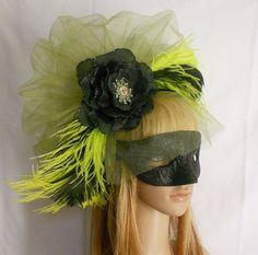 Green And Black Ostrich Feather Masquerade Mask Fascinator by www.IrmasElegantBoutique.Etsy.com