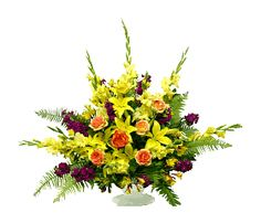 Flowers:      10 Yellow Gladiolus stems     7 Orange Roses (60 cm)     10 Yellow Snapdragon stems     4 Yellow Lily stems  Accessories & Hardgoods:      White Funeral Stand Free Basket