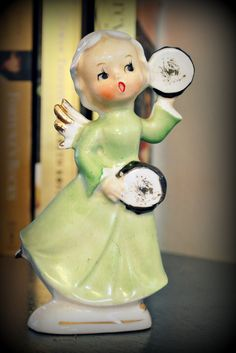 Vintage Christmas Angel with Tambourine Figurine - Made in Japan