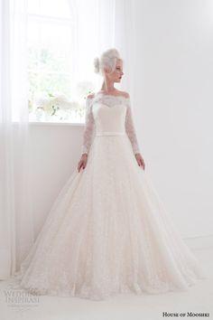 http://www.weddinginspirasi.com/2014/08/20/house-of-mooshki-spring-2015-wedding-dresses/ House of Mooshki #bridal spring 2015 flora off shoulder long sleeve #wedding dress #weddingGown #weddingDress