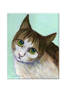"""A4 print of cat art painting  """"A Cat With Innocent Look"""" for wall art or wall deco (57) $20.00"""