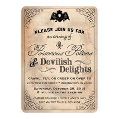 Classy Halloween Vintage Devilish Delights Invite - invitations personalize custom special event invitation idea style party card cards