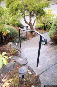 Ballard Ornamental Ironworks—Hand Railings—(206) 782-3343 Outside Stair Railing, Outdoor Stair Railing, Metal Stair Railing, Wrought Iron Handrail, Patio Stairs, Iron Handrails, Front Stairs, Garden Stairs, Exterior Stairs