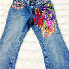 Hand Embroidered in Mexico in beautiful colors . Boho authentic jeans by RL Polo . Hand Embroidered in Baja Mexico . Flare bell bottoms . ralph loren polo Pants