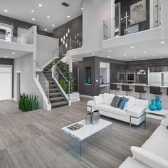 Contemporary Living Room Design With White Interior And Glass Decoration