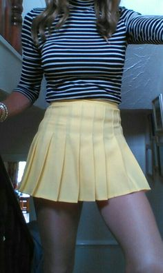 Pleated Mini Skirts A great stripy top with a yellow tennis skirt. - Mini Skirts - Ideas of Mini Skirts Cute Skirts, Short Skirts, Mini Skirts, Teen Skirts, Sexy Skirt, Dress Skirt, Yellow Pleated Skirt, Pleated Skirt Outfit Short, Pleated Tennis Skirt