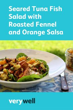 Fennel root stands in for onion in this low-FODMAP fish salad with orange salsa. Seared tuna is served on a bed of baby spinach for a light but filling, heart-healthy meal. Heart Healthy Recipes, Healthy Soup, Healthy Snacks, Tuna Fish Recipes, Salad Recipes, Tuna Fish Salad, Roasted Fennel, Seared Tuna, Orange Salad