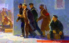 Lenin escorted by the Kronstadt sailors in Petrograd