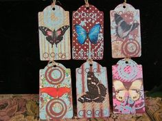 Trendy Butterfly Altered Art - set of 6 hang tags - Polka Dots