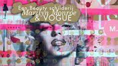 Art: Een beauty schilderij van Marilyn Monroe & Vogue, made by me! Mixed-media van 100x100 cm