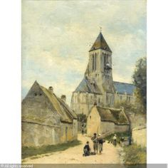 LÉPINE Stanislas Victor Édouard,Ouistreham church in Normandy,Sothebys,Paris