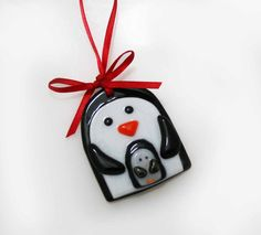 Fused glass penguin ornament. These are really popular on the Xmas Tree. $30
