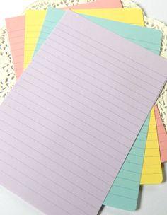 Pastel Lined Writing Paper ~ Junk Journal Paper. Lined Writing Paper, Cool School Supplies, Cool Notebooks, Letter Writing, Writing Art, Notebook Paper, School Essentials, Journal Paper, Planner