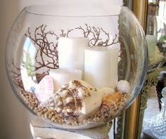 An easy DIY project for candles, shells, sand, a bit of sea fan.