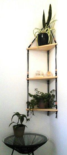 Macrame hanging shelves: