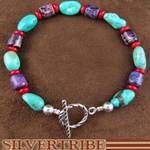 Sterling Silver Hand Strung Turquoise Multicolor Native American Bead Bracelet