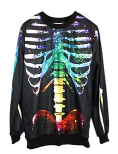 Pink Queen Women Colourful Skull Skeleton Printed Sweatshirt Sweaters ** See this great product.