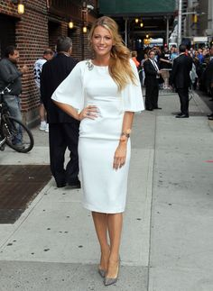 In a Marchesa dress with Christian Louboutin pumps leaving the 'Late Show with David Letterman' in 2012. See all of Blake Lively's best looks.