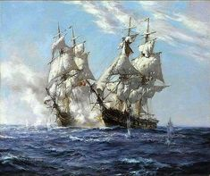 Montague Dawson, Bateau Pirate, Old Sailing Ships, Sea Of Thieves, Ship Of The Line, Ship Paintings, Naval History, Wooden Ship, Nautical Art