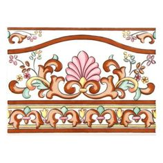 Merola Tile Galan Melado Cenefa 3 in. x 8 in. Ceramic Wall Trim - The Home Depot Baroque Pattern, Pattern Art, Tile Art, Wall Tiles, Galaxy S8 Wallpaper, Saree Painting, Border Embroidery Designs, Wall Trim, Arte Popular