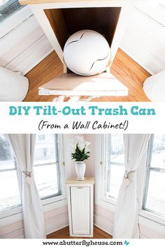Grungy wall cabinet becomes beautiful and functional tilt-out trash can in this simple DIY! Diy Furniture Flip, Thrift Store Furniture, Furniture Makeover, Butterfly House, Old Wall, Easy Diy, Simple Diy, Base Cabinets, Home Projects