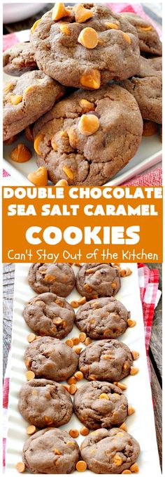 Double Chocolate Sea Salt Caramel Cookies | These are the best sea salt caramel cookies ever! This cookie has both cocoa & chocolate chips in the batter. They are so rich & decadent you won't be able to stop at just one!