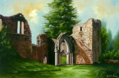 For sale - Traditional oil painting in a gold leaf wood frame. Subject - the Augustinian Inchmahome Priory an island in the Lake of Menteith, Scotland, executed in oil on canvas by Ardell Morton Purple Books, Mary Queen Of Scots, Gold Leaf, Purple Flowers, Oil On Canvas, Scotland, Art Pieces, Death, Carpet