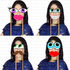 Funny Photo Booth Props, Mustache, Lips and Eyes photo booth props, Weeding, Party Photo Booth, Printable - INSTANT DOWNLOAD
