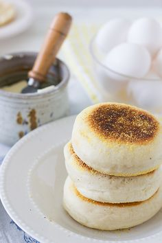 Sourdough English Muffins - Soft and puffy English muffins made at home with a simple fry pan.