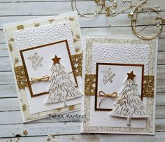 Stampin' Up Gold Inspired Christmas Card using Perfect Pines Katina Martinez www.lovinglifeslittlblessings.com