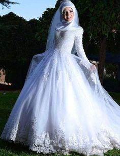 С длинным рукавом мусульманское свадебное платье линия хиджаб арабский свадебное…