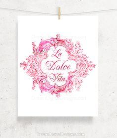 Printable La Dolce Vita Art, Kitchen Art, Italian Decor, Digital Wall Art, Vintage Illustration, Wall Decor