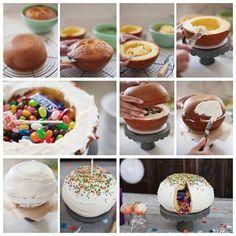 Love this Piniata cake Food Cakes, Cupcakes, Cupcake Cakes, Bolo Pinata, Piniata Cake, Candy Filled Cake, Bolo Diy, Dessert Original, Inside Cake