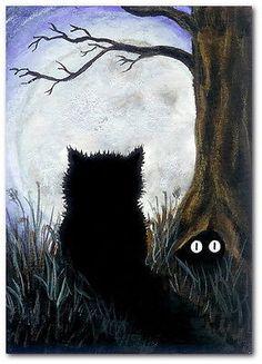 Peek&Boo Black Cats Blue Full Moon - by BiHrLe Print 5x7