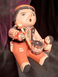 Vintage Little Drummer Boy Cochiti Pueblo Storyteller by AlsBazaar