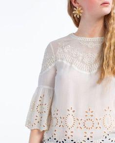 blusa bordada em branco zara 1