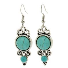 TS Retro Turquoise Pendant Dangle Earrings