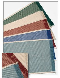 The country weave placemats are a thicker, heavier weight weave that always lies flat and stays in place. They are very soft to the touch, reversible and are extremely durable. The yarns are vat dried to ensure long lasting, vibrant color. 100% USA cotton. Long lasting colors. Completely reversible for double wear. All pieces hand fringed. Never needs ironing. Machine washable, line dry. Allow for some shrinkage due to natural fiber and weave. Coordinates well with the Homespun Table Linens!