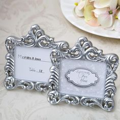 Baroque Pearl Silver Frame Card Table Wedding, Wedding Place Cards, Wedding Stuff, Silver Pearls, Baroque Pearls, Vintage Place Cards, Wedding Favors Unlimited, Rose Gold Table, Gold Picture Frames