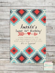 Aztec Tribal Print Custom Birthday Invitation Printable, Sweet 16 Teen Tween Adult JPG PDF digital invite file, Girls party supplies Wording can be changed for a graduation announcement by LuxePartySupply on Etsy