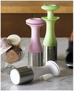 I WANT ONE!!!.   Ice Cream Scoop Features a simple twist-and-lift action and push-button release to create cylindrical blocks of ice cream that can be stacked into a cone or dish.