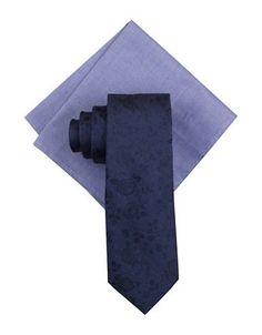 Tallia Orange Mo Floral Silk Tie and Pocket Square Set Men's Navy