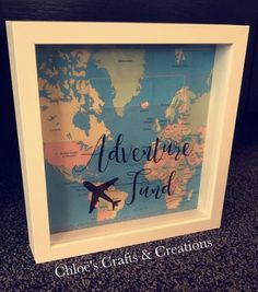 Adventure fund money box frame Home dècor by CraftsandCreationss