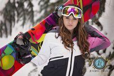 Senior girl snowboarding snow snow board pose Jennifer Rapoza Photography, California Hair and makeup by Jessica Alger
